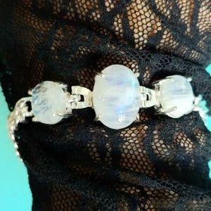 Mystic Genuine 3 Moonstone Silver Bracelet